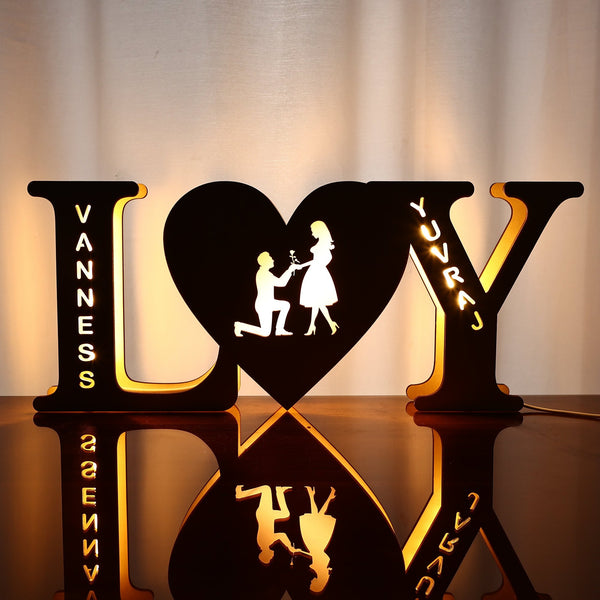 Anniversary gift-Valentine's Gift Custom Lamp Engraved Wood Nightlight Personalized Letter Lamp