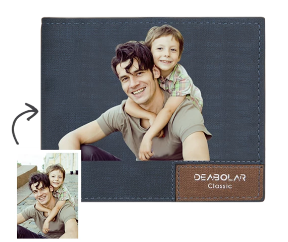 MEN'S BIFOLD SHORT CUSTOM PHOTO WALLET BLUE COLOR PRINTING