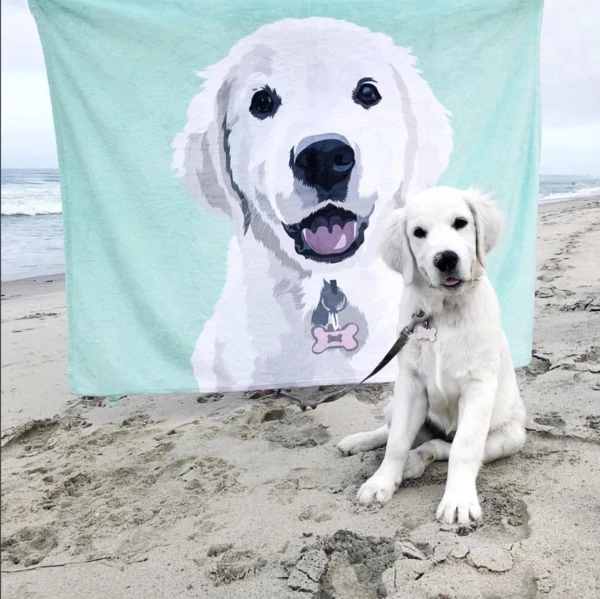 Custom Dog Blankets Personalised  Pet Fleece Blanket Painted Art With Your Pet's Name