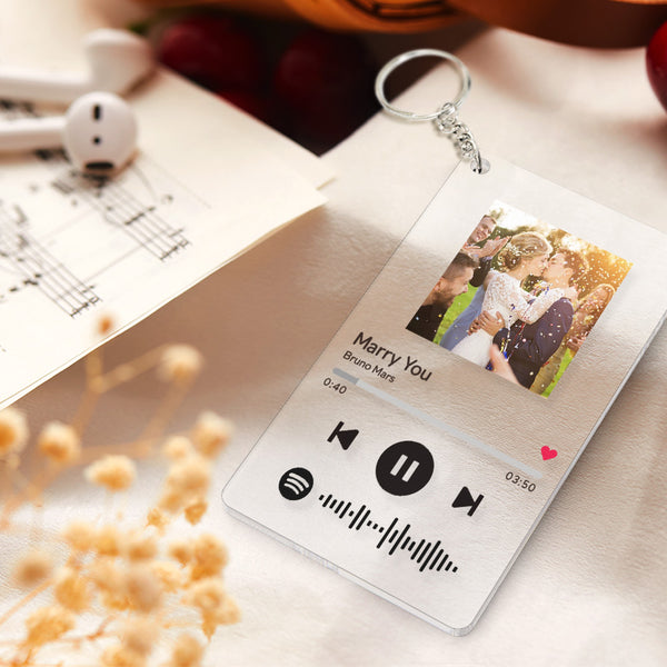 Personalized Spotify Code Music Plaque Keychain(2.1in x 3.4in)