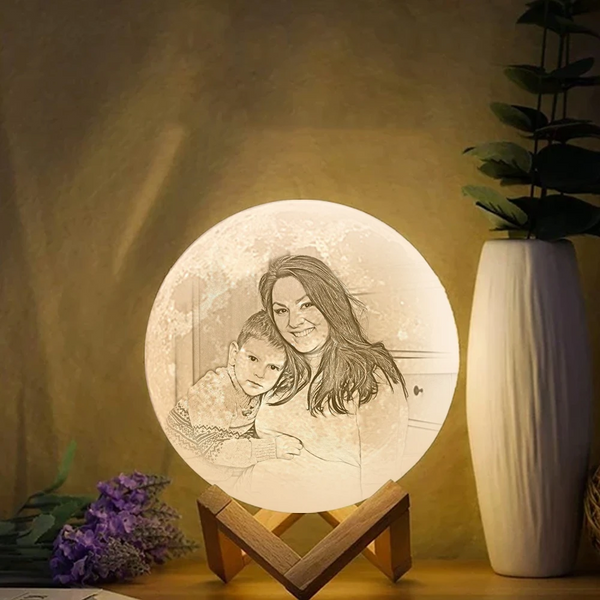 3D Moon Light Photo &Engraved Words Touch2 Colors