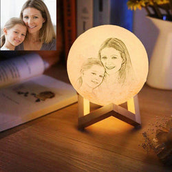 Moon Light Lamp 3D Printing Photo&Engraved Words Touch 3 Colors