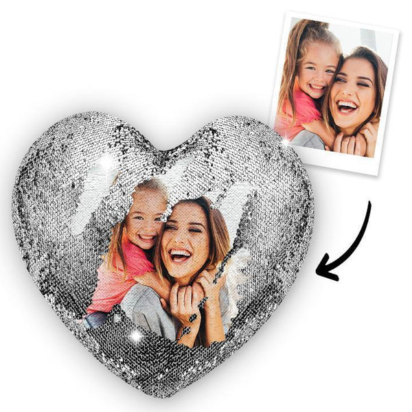 Gift for Mom Custom Photo Magic Heart Sequins Pillow-Silver