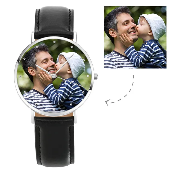 Father's Day Gift - Personalized Engraved Watch, Photo Watch With Black Leather Strap 40mm