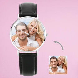 UK Personalised Engraved Photo Watch With Black Leather Strap 40mm