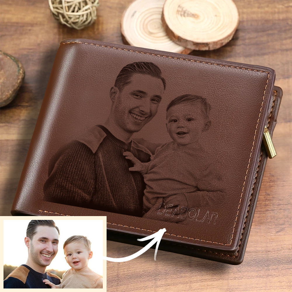 Father's Day Gifts - Men's Trifold Custom Photo Wallet - Brown