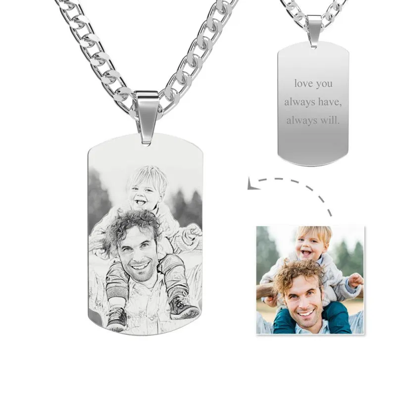 Men's Photo Engraved Tag Necklace | Sketch Effect