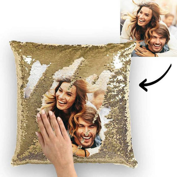 Personalized Photo Sequin Pillow Full Printing Reversible Pillow 15.75x 15.75-Gold