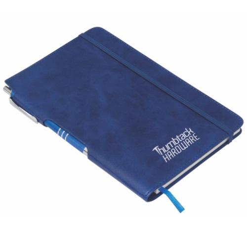 Classic Leather Look A5 Notebook with Pen Set