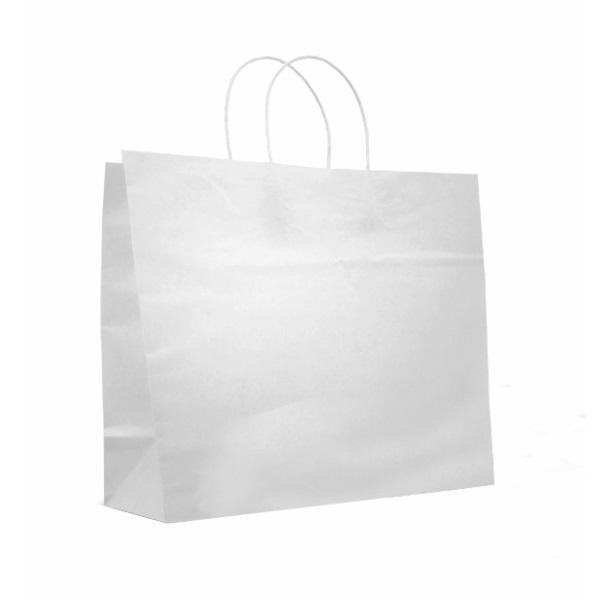 Crete White Paper Bag With Twisted Handles