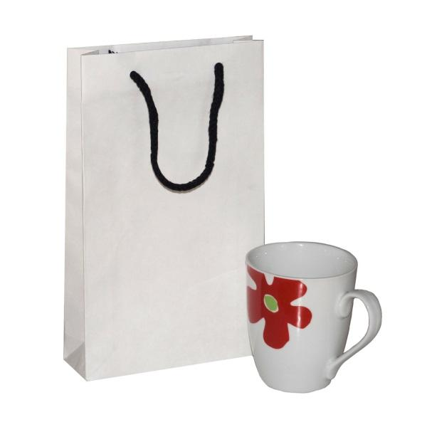 Crete White Paper Bag With Black Rope Handles