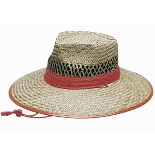 Generate Wide Brim Straw Hat with Orange Trim