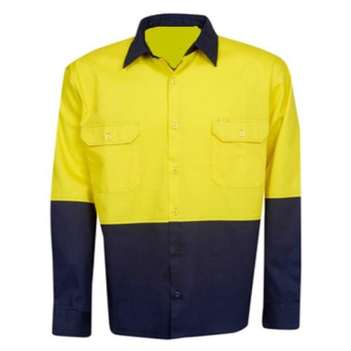 Hi Vis Cotton Drill Shirt Long Sleeve - Day Use