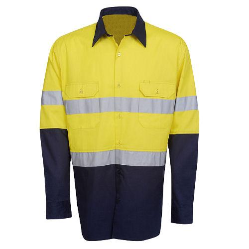 Hi Vis Cotton Twill Shirt Long Sleeve - Day/Night Use