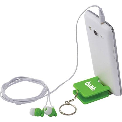 Arrow Earphones Keyring with Phone Stand