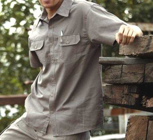San Cotton Drill Short Sleeve Work Shirt