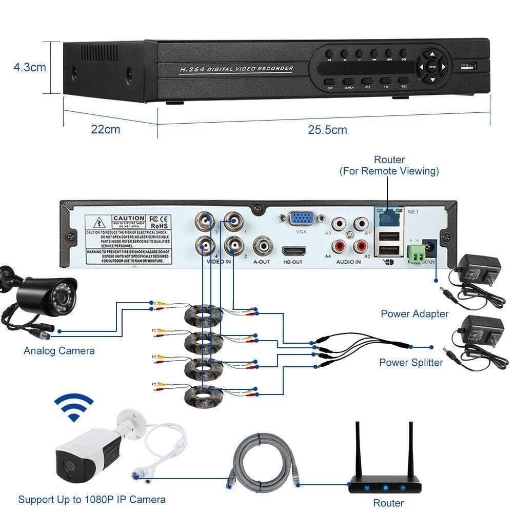 4 Channel CCTV 1TB DVR for Security Cameras- NEW!! - Computers 4 Less