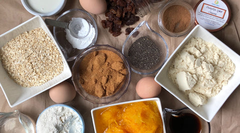 Ingredients for making Low Calorie- Nutrient Dense Pumpkin Loaf including Chalice Spice items