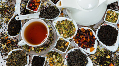 Variety of teas and tisanes some of which provide specific health benefits