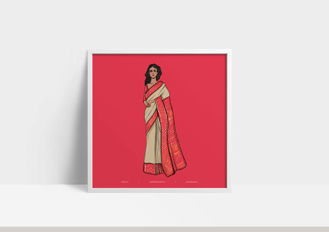 Woman in Saree - Red
