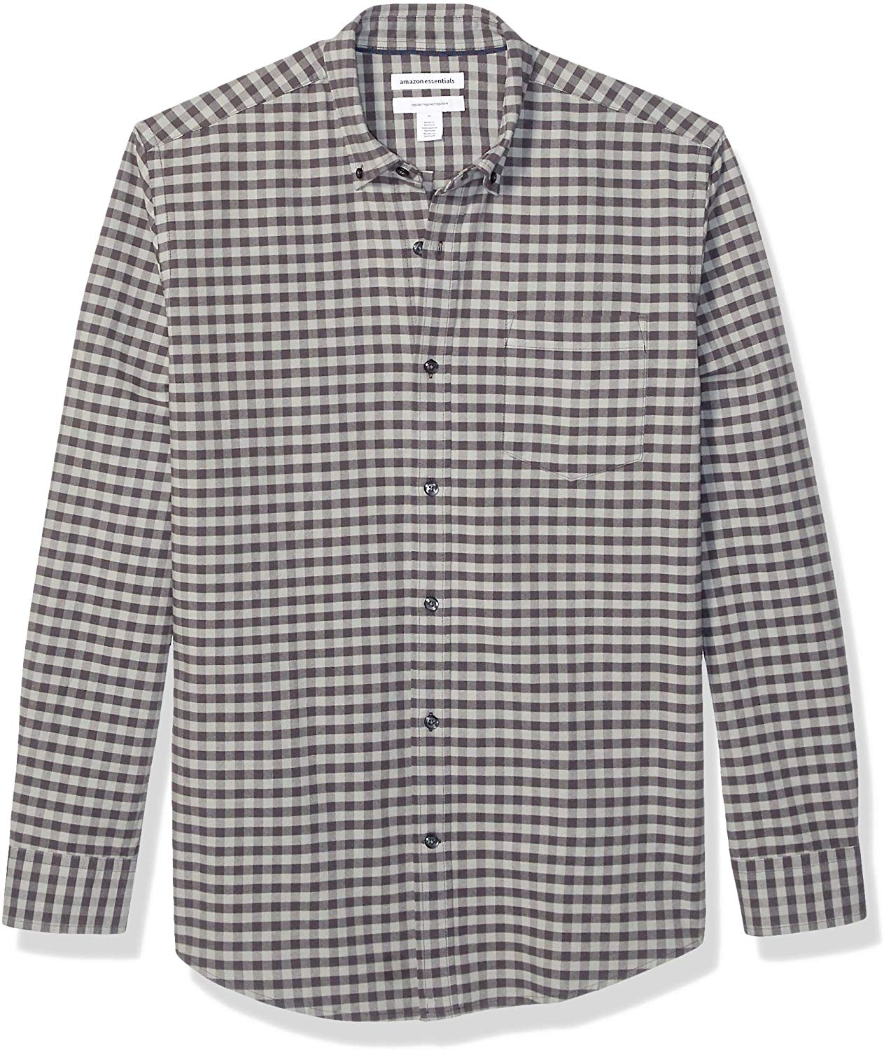 Essentials Mens Slim-fit Long-Sleeve Windowpane Pocket Oxford Shirt