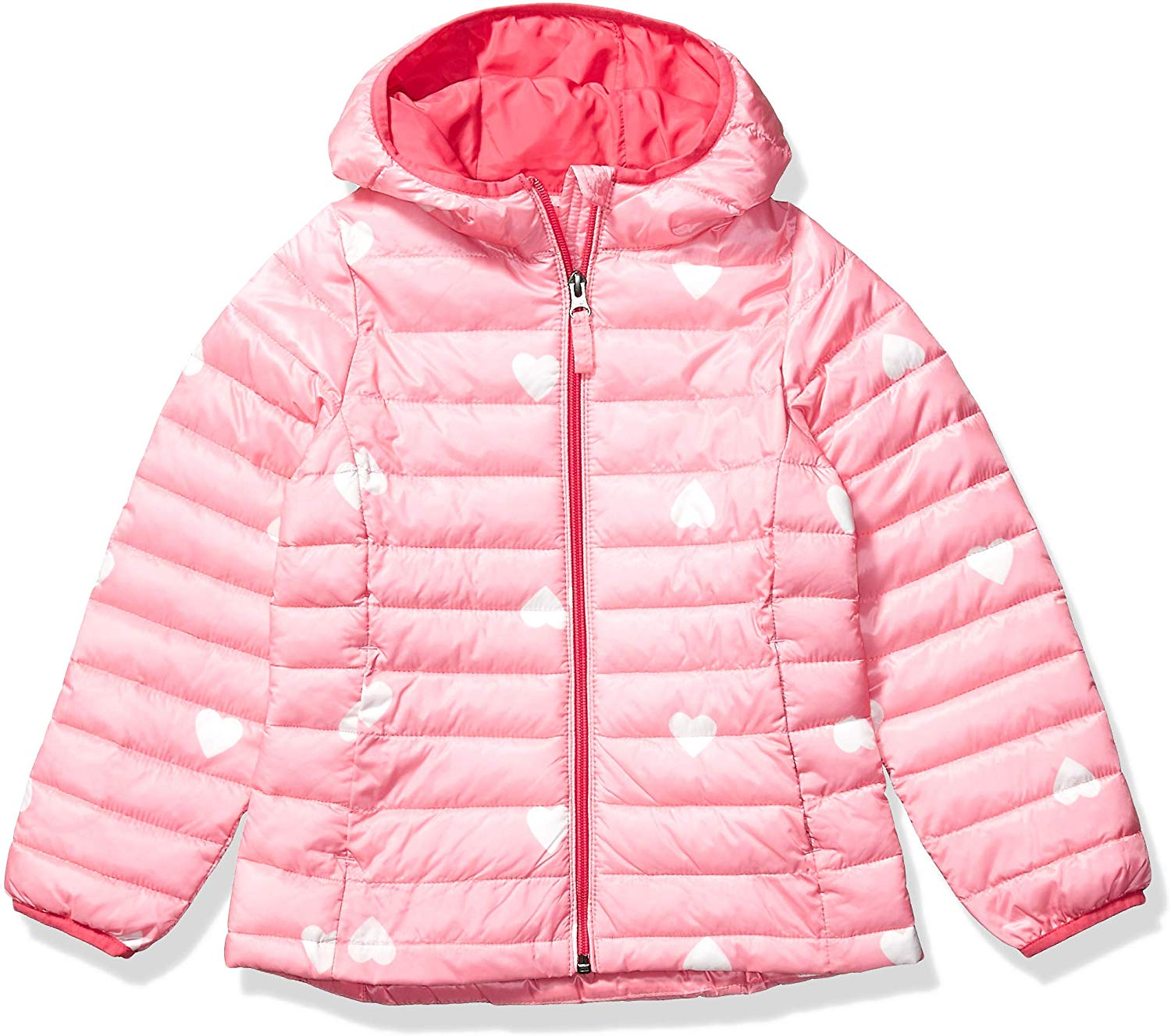 Essentials Girls Lightweight Water-Resistant Packable Hooded Puffer Jacket