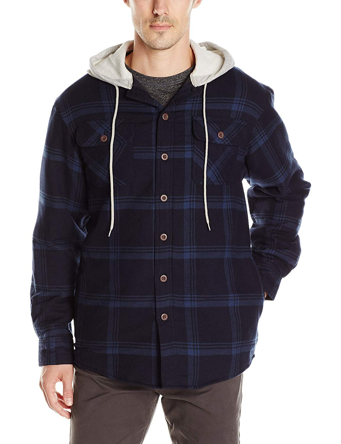 Wrangler Authentics Men/'s Long Sleeve Quilted Lined Flannel Shirt Jacket with Hood