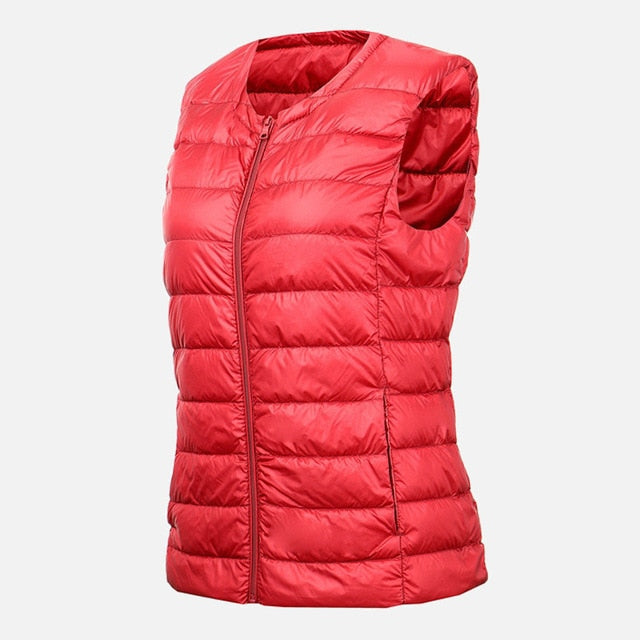 KOOBK Womens Down Vest White Duck Down Short Vest Jacket Sleeveless Portable Vests Coat Winter Waistcoat Ultra-Light Camping Ski Vest Outdoor Hiking Down Waistcoats