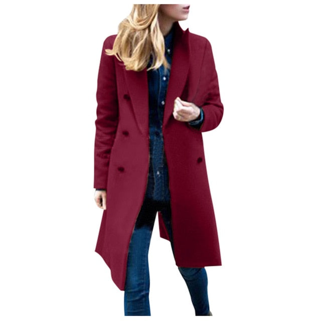 Casual Wool Solid Jackets Blazers Female Elegant Double Breasted Long Coat Ladies Plus Size
