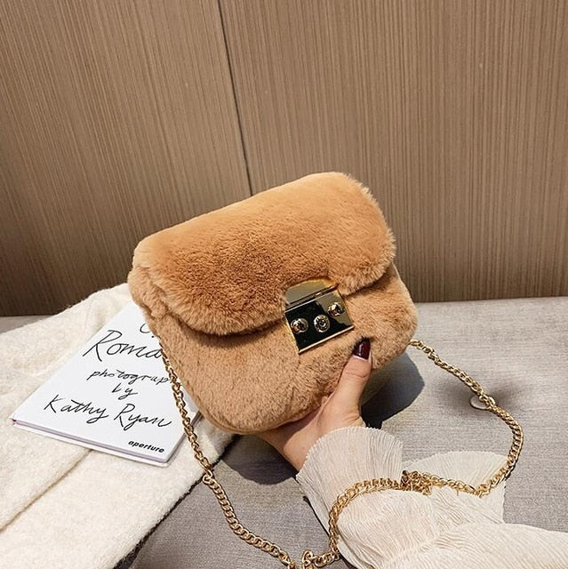 Female Flip Square Bag Winter Soft Plush Handbag Shoulder Messenger Bag