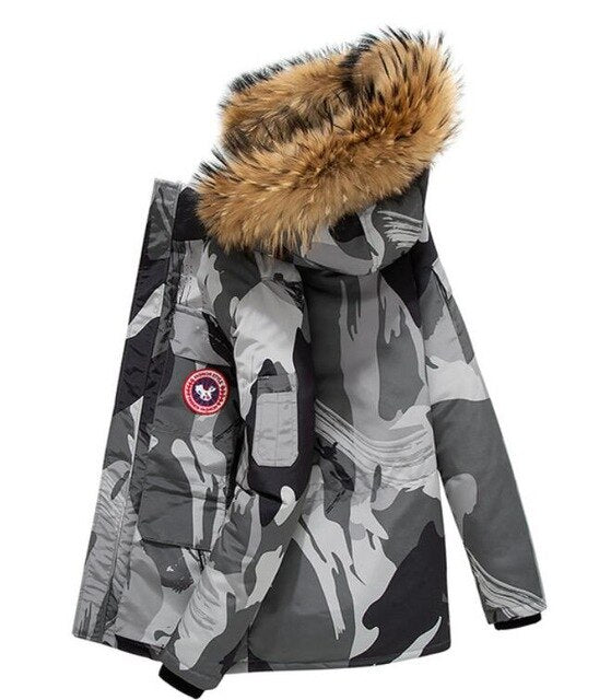 Winter Mens Hooded Jacket Padded Coat Warm Fur Collar Parka Casual Thick Outwear