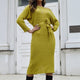 Autumn Winter Pure Yellow Fashion Sweater Dress Women Elegant Black Bodyocn Knitted Dresses Sexy Lace Up Pullovers Basic Jumper