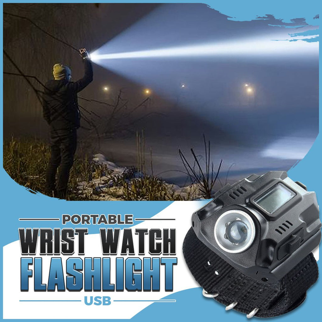 Portable Wrist Watch Flashlight USB