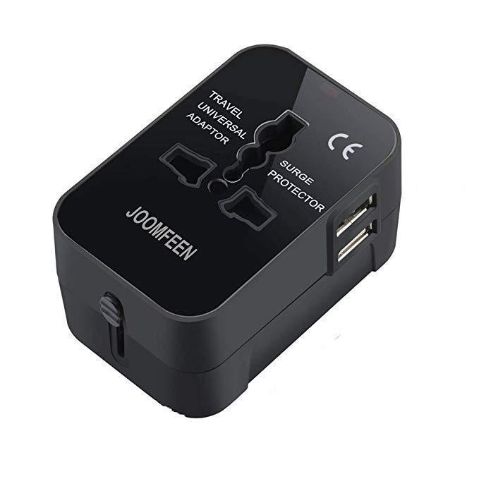 Universal World Travel Surge Protection Adapter with Dual USB