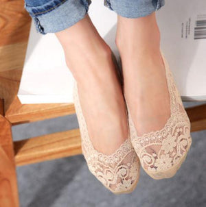 Cotton Lace Low Cut Socks  (4 Pairs Set)