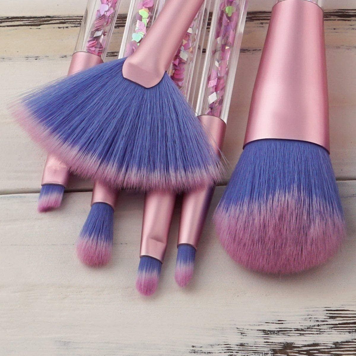 Unicorn Glitter Makeup Brush Set - 7pcs Set