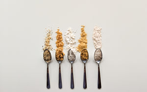 Hoppy Planet Foods Clean Dry Ingredients laid in a row on spoons