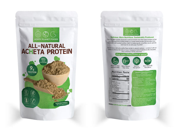 Package of All-Natural Acheta Protein highlighting protein and allergen-free traits. Showing facts and a recipe on the back.