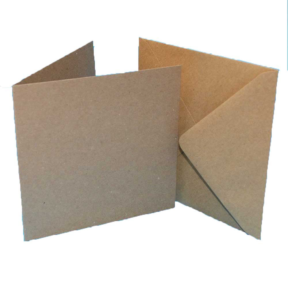 6 x 6 Card Blanks and Envelopes Kraft 50 pack