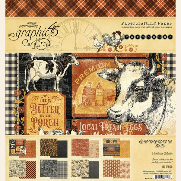 Graphic 45 Farmhouse 8 x 8 Pad