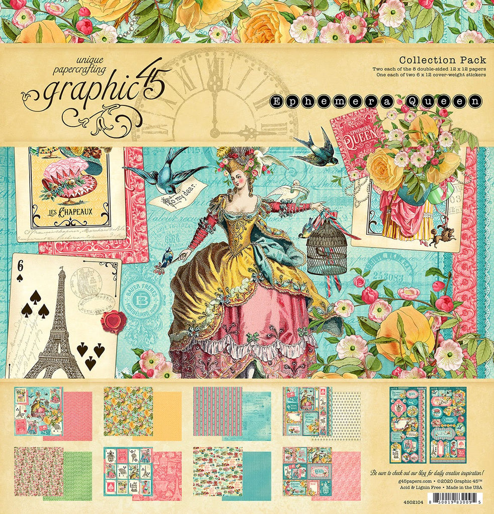 Graphic 45 Ephemera Queen 12 x 12 Collection Pack