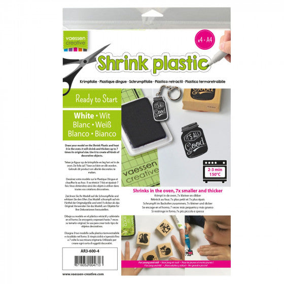 Shrink Plastic A4 White (4 pack) Vaessen Creative
