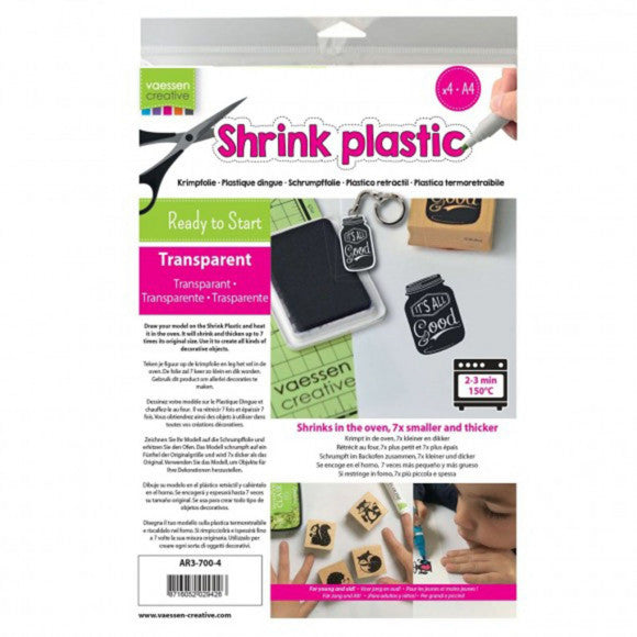 Shrink Plastic A4 Clear (4 pack) Vaessen Creative