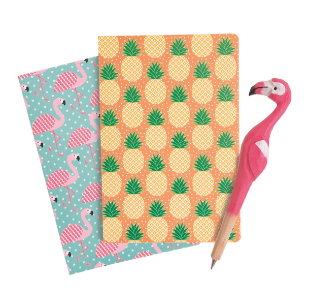 A5 Notebook - Flamingo and Pineapple - Pack of 2 - Sass and Belle