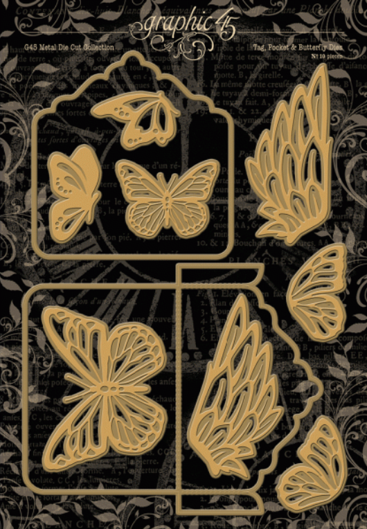 Tag, Pocket & Butterfly Die Set - Graphic 45