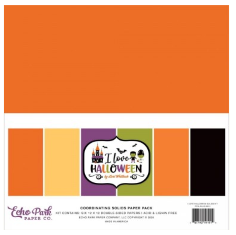 I love Halloween Solids Paper Pack Echo Park
