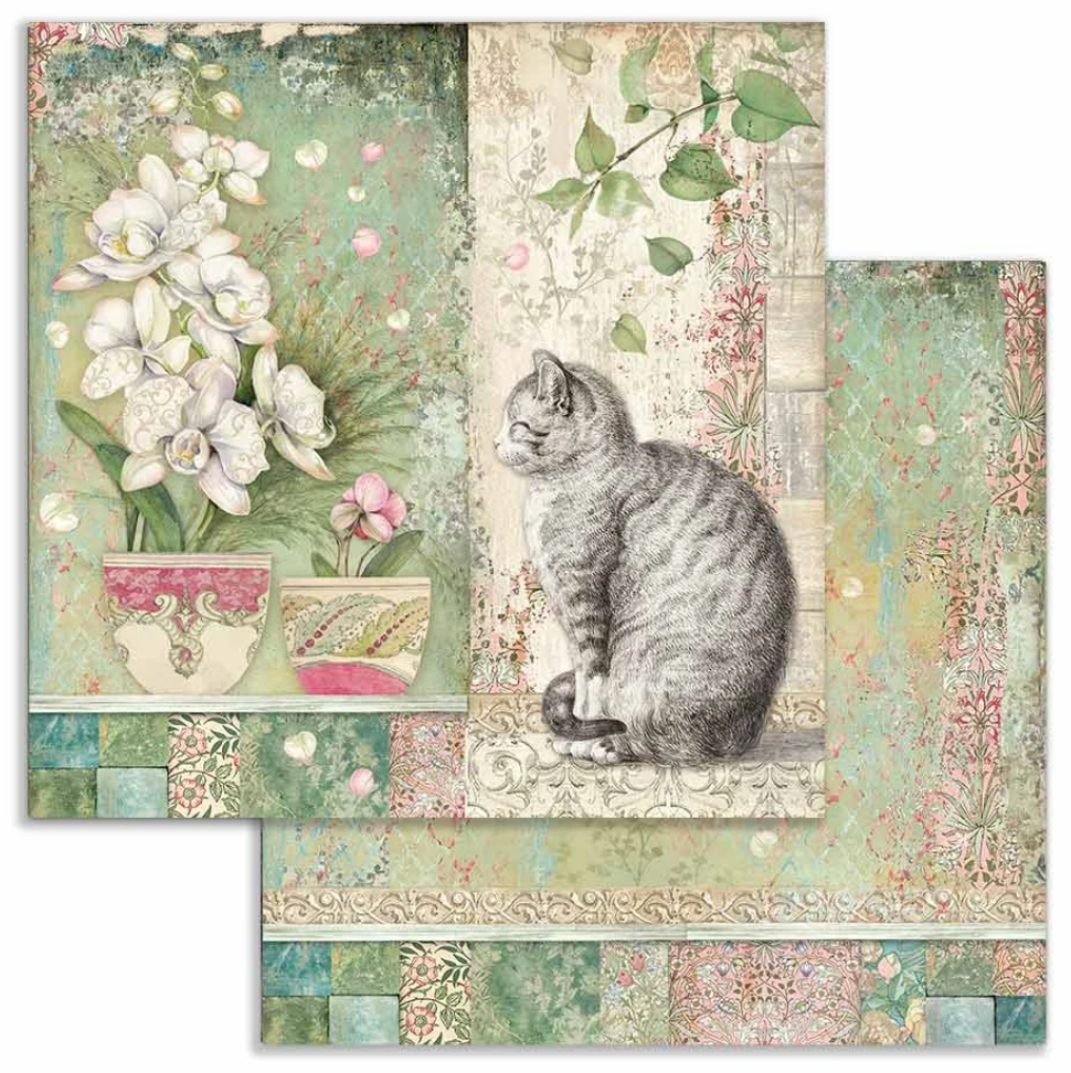 Orchids and Cats 12 x 12 by Stamperia