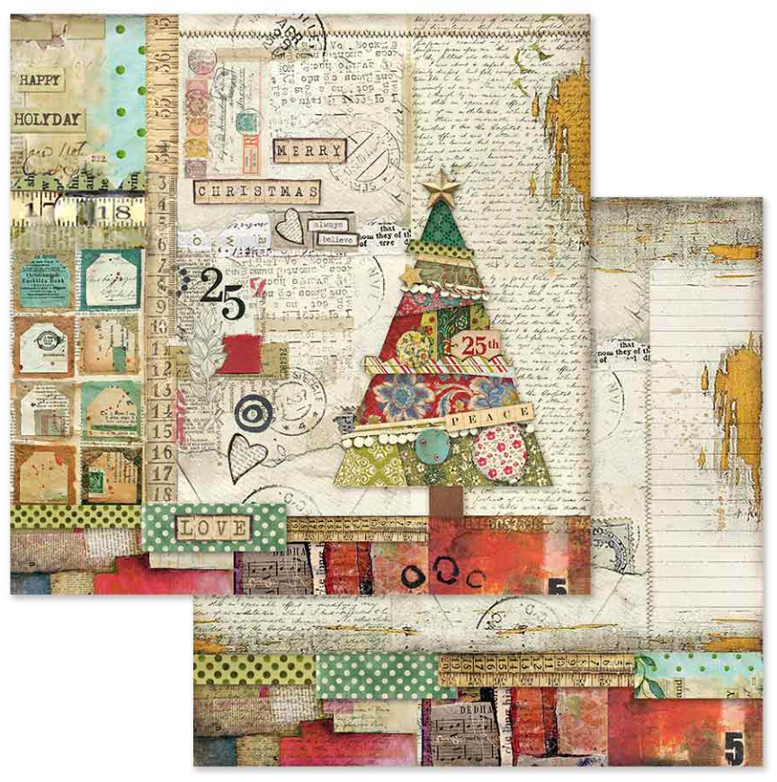 """NEW Stamperia 12/"""" x 12/"""" Maxi Paper Pad Christmas Make A Wish"""