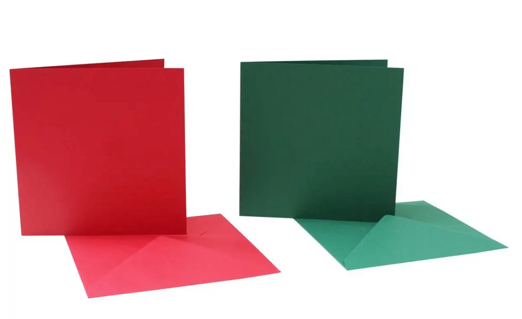 6 x 6 Card Blanks and Envelopes Red/Green 50 pack