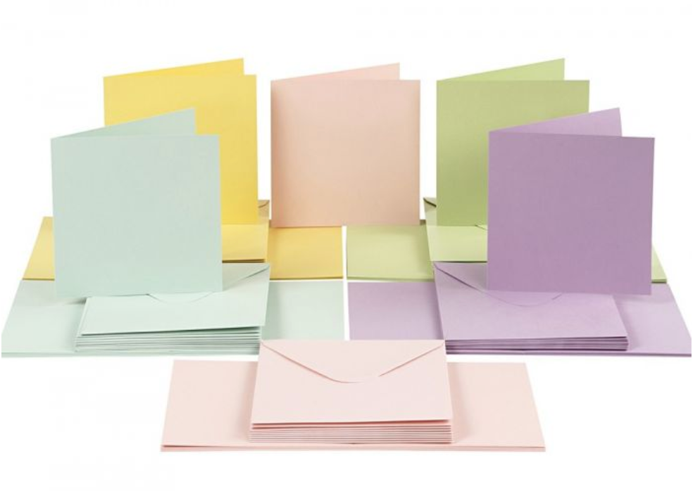 6 x 6 Card Blanks and Envelopes Pastel 50 pack